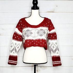 Free People Crop Knit Wool Pattern Sweater